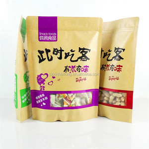 Hot Dry food packaging 3 layers PET/PE kraft paper bag with clear window