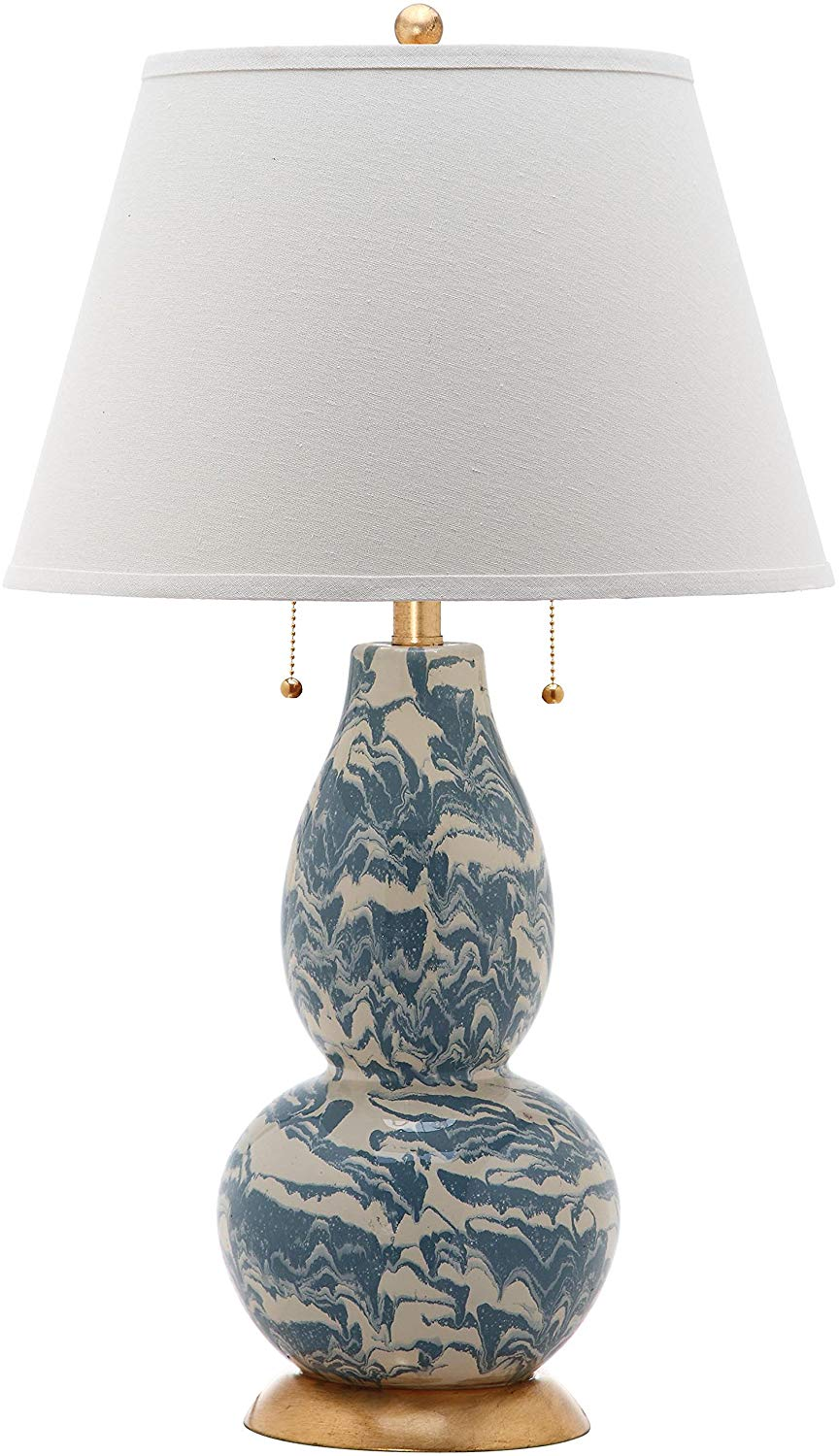 Safavieh Lighting Collection Light Blue and White Color Swirls Glass 28-inch Table Lamp