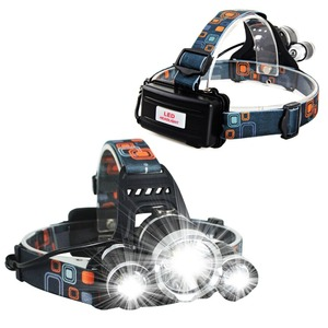 3Led 5000 Lumens XML T6 Headlamp Flashlight Torch LED with Rechargeable Batteries and Wall Charger for Hiking Camping
