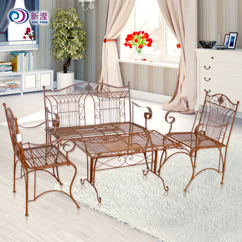 Wrought Iron Chairs Floral Decoration Gold Painted Wrought Iron