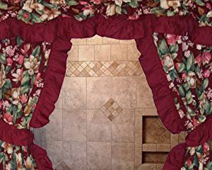 Get Quotations Magnolia Floral Print One Rod Ruffled Swag Shower Curtain And Vinyl Liner Wine Burgundy