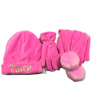 Winter girl hat gloves scarf three-piece factory direct winter warm knit hat scarf