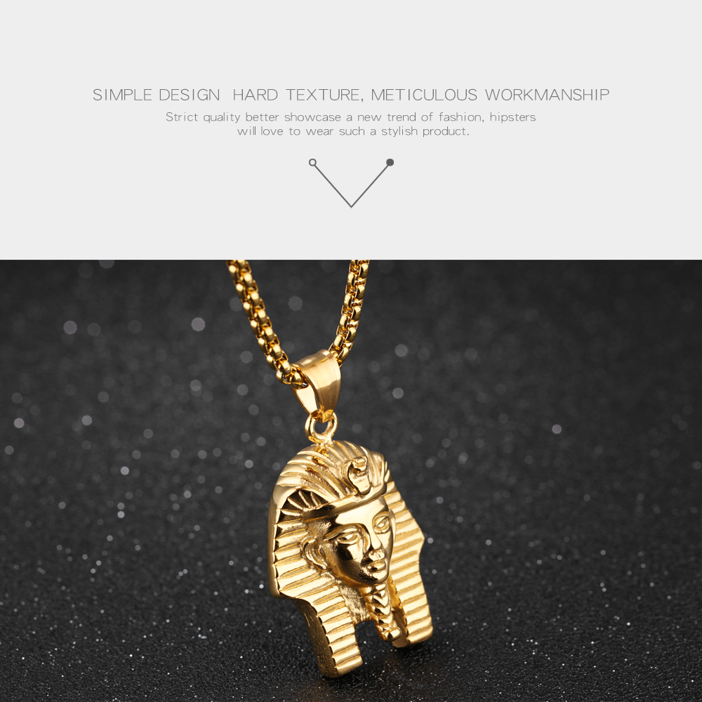 Custom Fashion Jewelry Stainless Steel Egyptian Pharaoh Shape Character Pendant