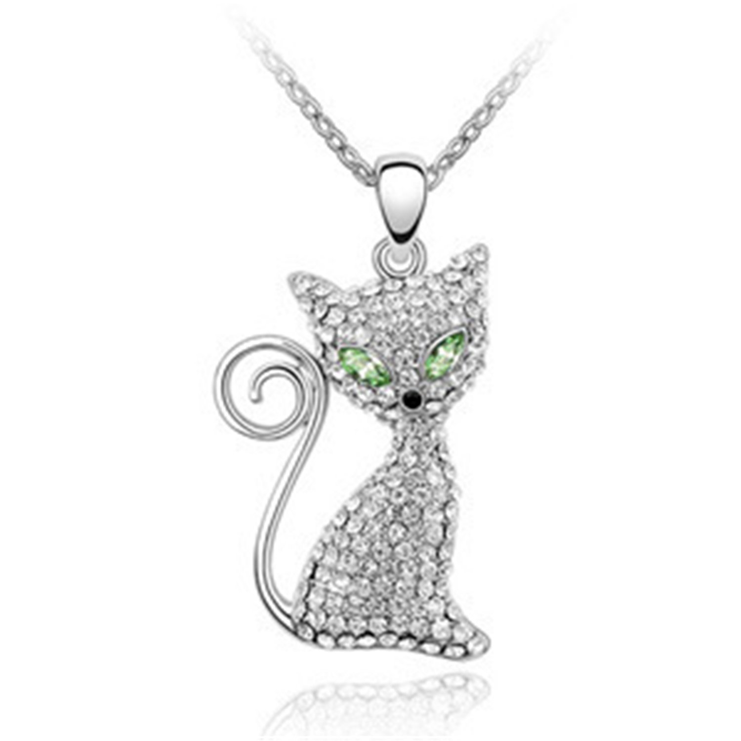 Shiny girlKitty Molly Crystals Cat Pendant Necklace, Elegant and eye-catching Women Fashion Jewelry-Olive