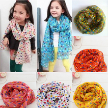 Toddlers Kids Baby Girls Scarf Shawls Wrap Candy Color Voile Dots Scarves