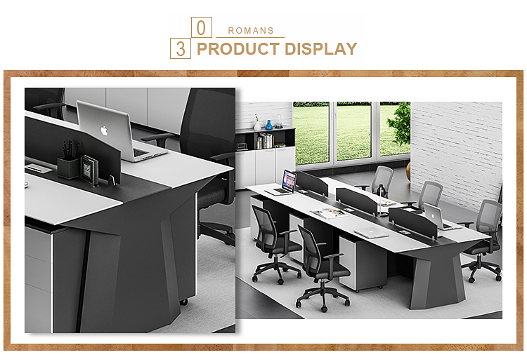 8 Person Modular Partition Modern Linear Shape Office Workstation