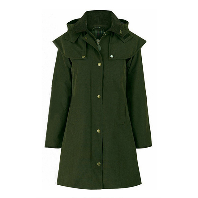 Fully Seam Sealing Tape Hooded Long Green Colour Jacket Waterproof PU Coated Polyester Rain Coat
