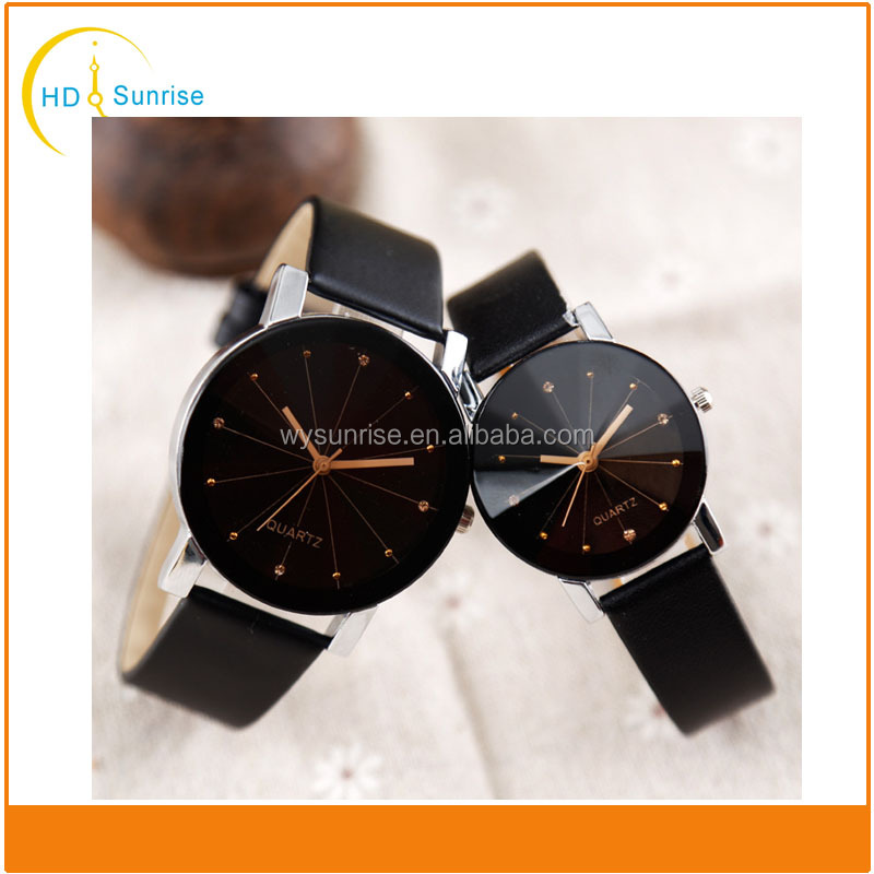 New arrival vogue luxury black and silver alloy case unisex wide black band alloy couple watch