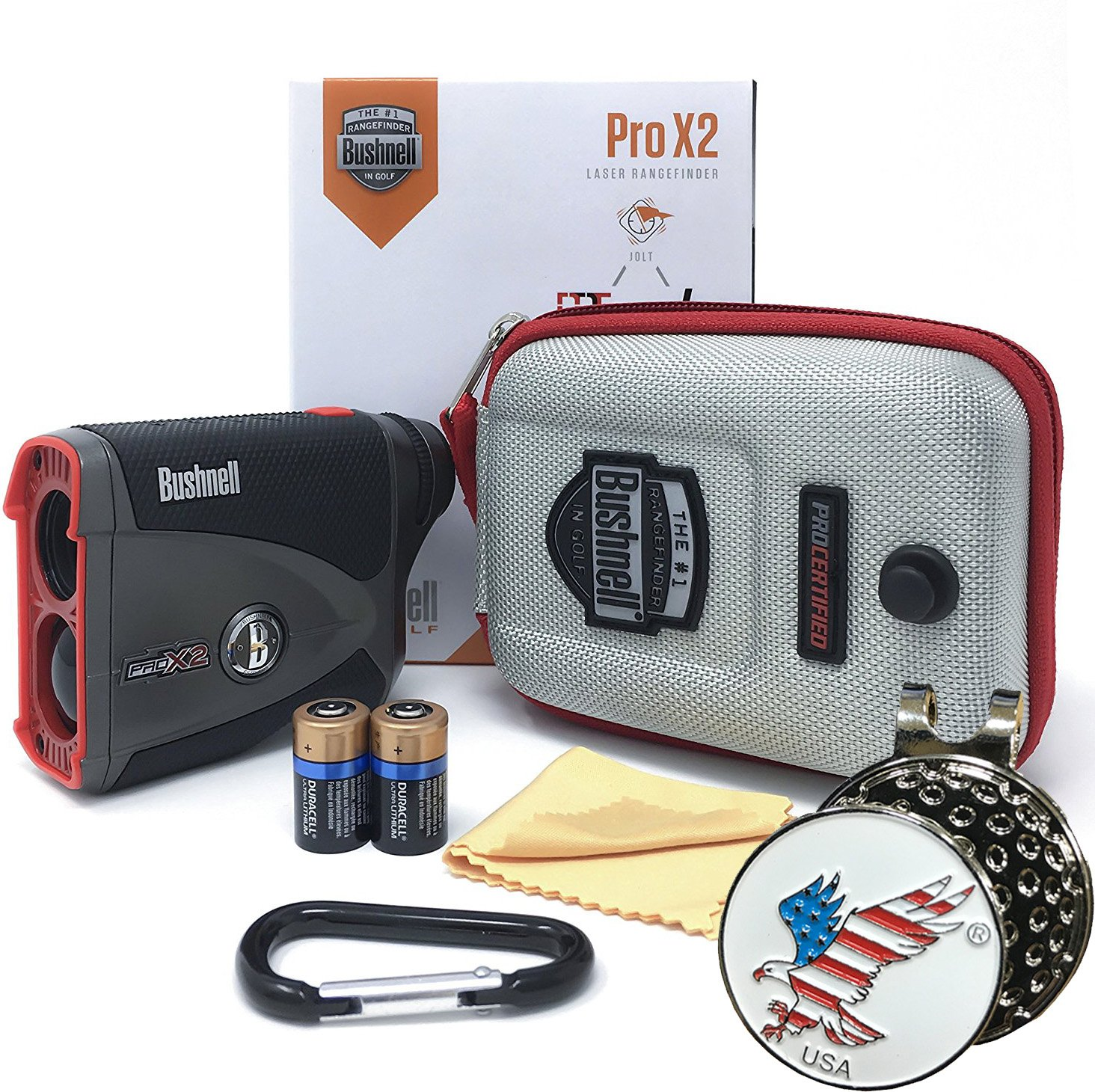 Bushnell Pro X2 Golf Laser Rangefinder GIFT BUNDLE | Includes Golf Rangefinder (Slope & Non-Slope Function) with Carrying Case(Clip included), Custom Ball Marker Hat Clip Set and Two (2) CR2 Batteries