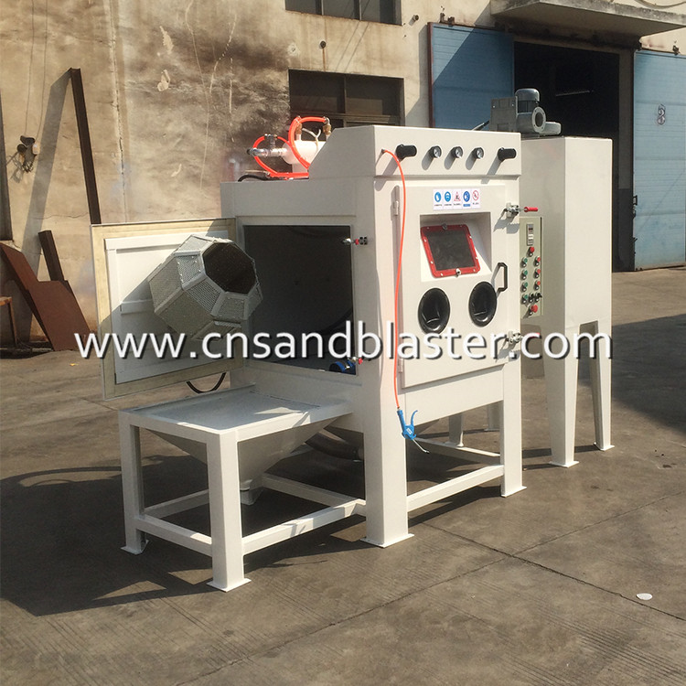 Rotary Trolley Table semi Automatic Sandblasting Machine / trolley sand