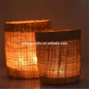 glass candle lamp shades clear candle holder with Linen cover