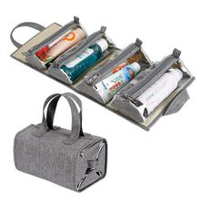 Falten Portable Reise Männer Roll Up Toiletry Taschen Kosmetik Make-Up Kit