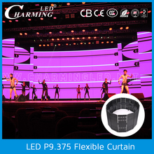 Night club wall decor P9.375 indoor full color video led curtain/led video wall /stage led curtain