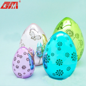 Different flowers glass fast supplier easter coloring eggs with led light