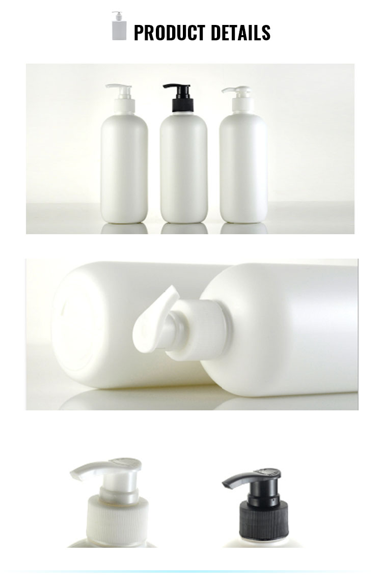 Eco friendly white 500ml hdpe shampoo bottle with pump