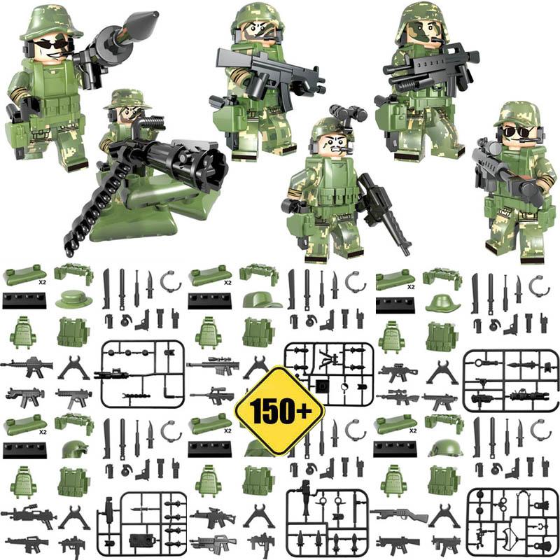 Kitoz DIY строительные блоки кирпичная игрушка военный сторонний набор оружия для армейского солдата спецназ городская полиция совместима с ...(Китай)