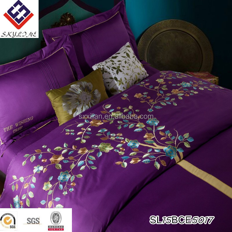 High quality embroidery egyptian cotton duvet cover quilt bed linen set