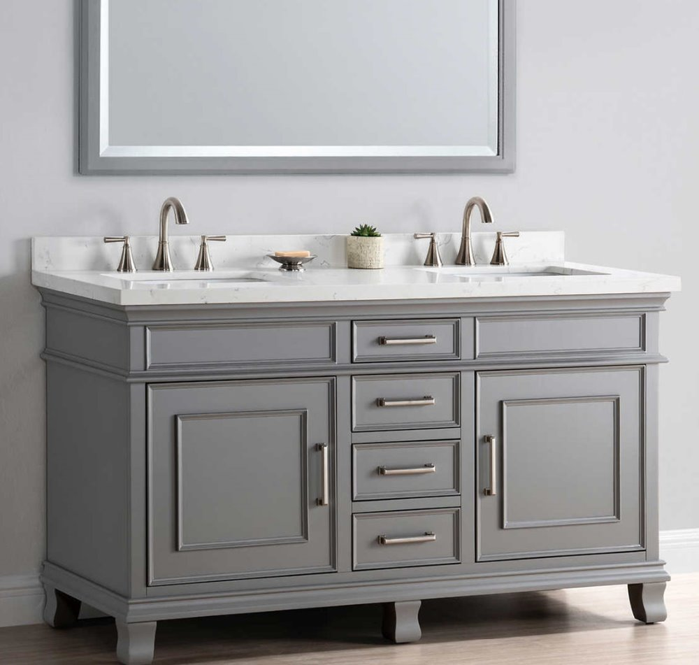 Best sale factory custom gray bathroom vanity with sink for home.