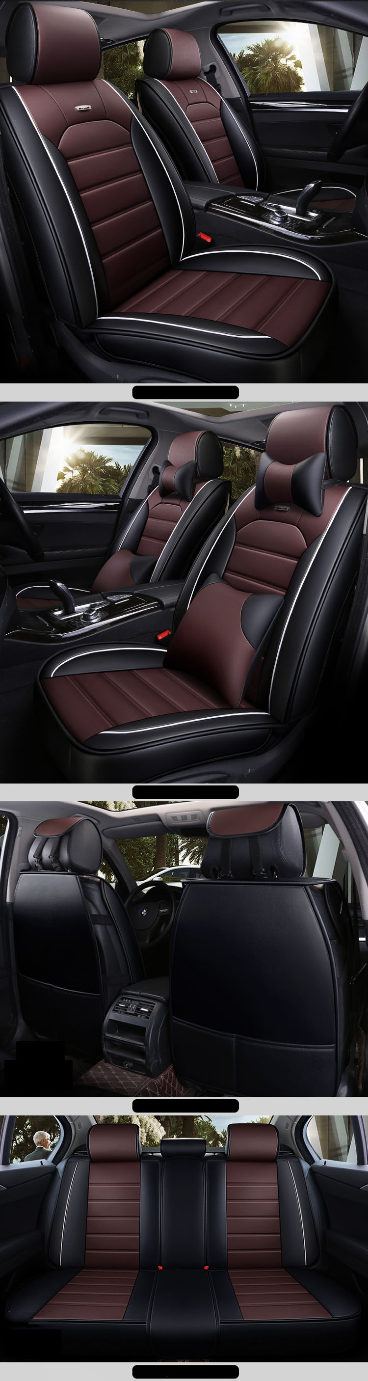 Quick Shipping Leather Car Seat Covers Universal Full Set For Most Car Models/Seat Covers Car Universal