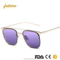 X863 Yiwu Future Alloy PC Color Ray UV protect Ocean Clear Oversize Women Unisex Square Sunglasses