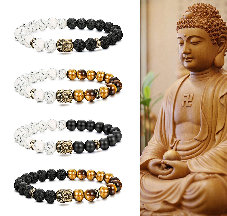 b80e520f4d Get Quotations · FIBO STEEL 4 Pcs Buddha Beads Bracelet for Men Women  Buddhist Religious Prayer Natural Stone Healing