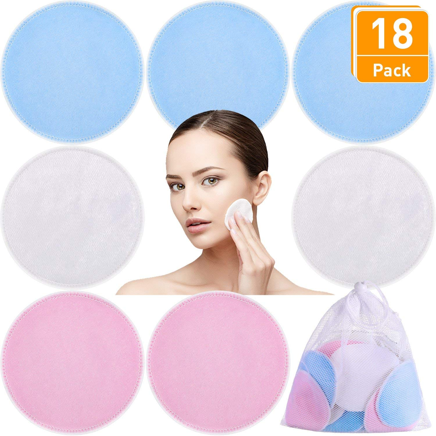 Blulu 18 Pack 3 Layers Makeup Remover Pads, Washable and Reusable Bamboo Soft Facial Pads, Makeup Remover Cloth Pads for Skin Care with Laundry Bag, 3 Colors