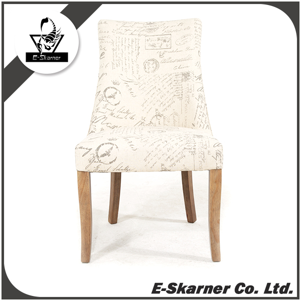 E-Skarner entire chair body scratchy English letter design cream white dining chair