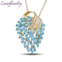 Amazing Marquise Shape Blue Topaz Pendant Necklaces In 18Kt Yellow Gold Natural Diamond Angel Pendant Wholesale E00153A