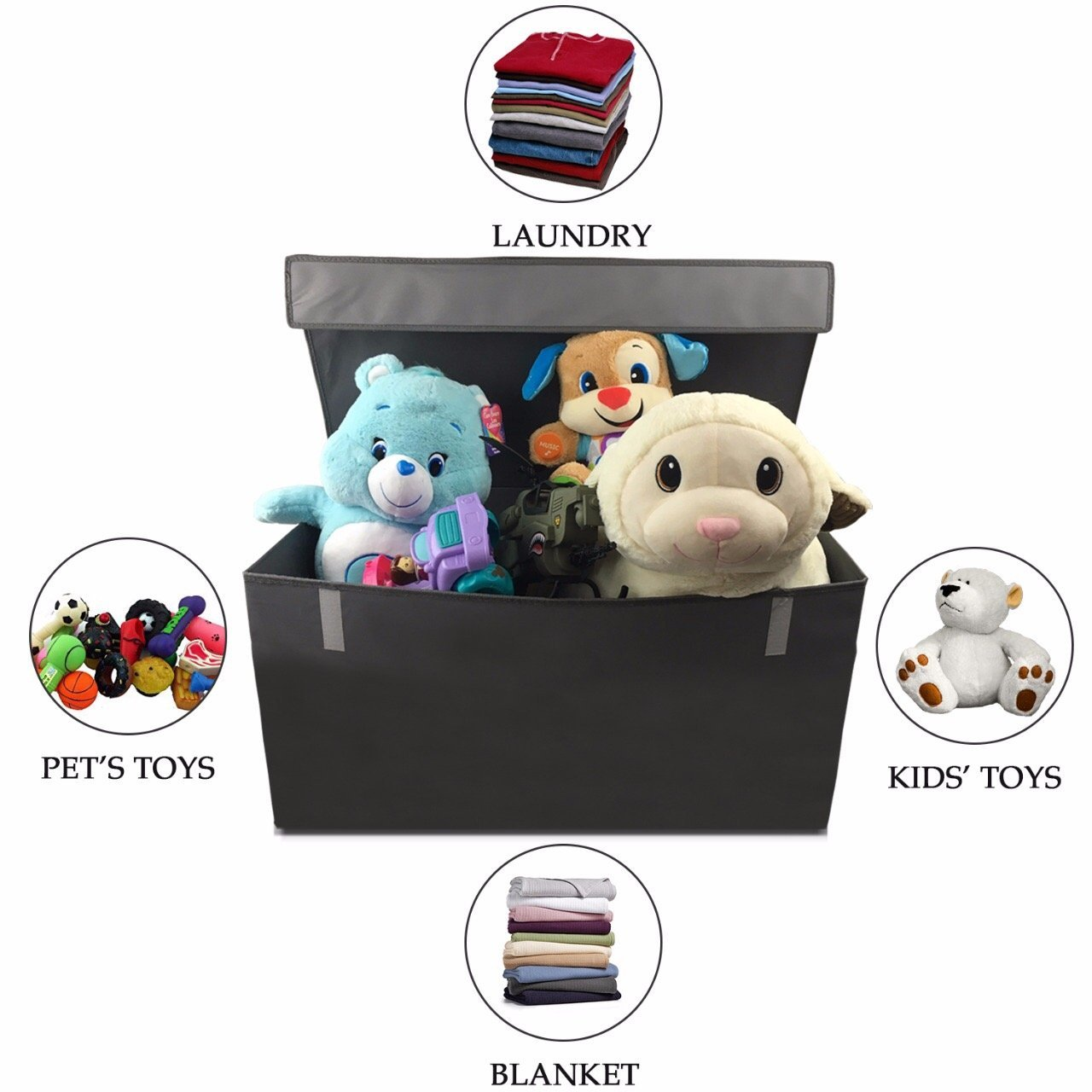 Collapsible Toy Chest for Kids (XX-Large) Storage Basket w/ Flip-Top Lid | Organizer Bin for Bedrooms, Closets, Child Nursery | Store Stuffed Animals, Games, Clothes, Shoes