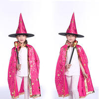 wholesale high quality kid halloween cloak five pointed star witch cape