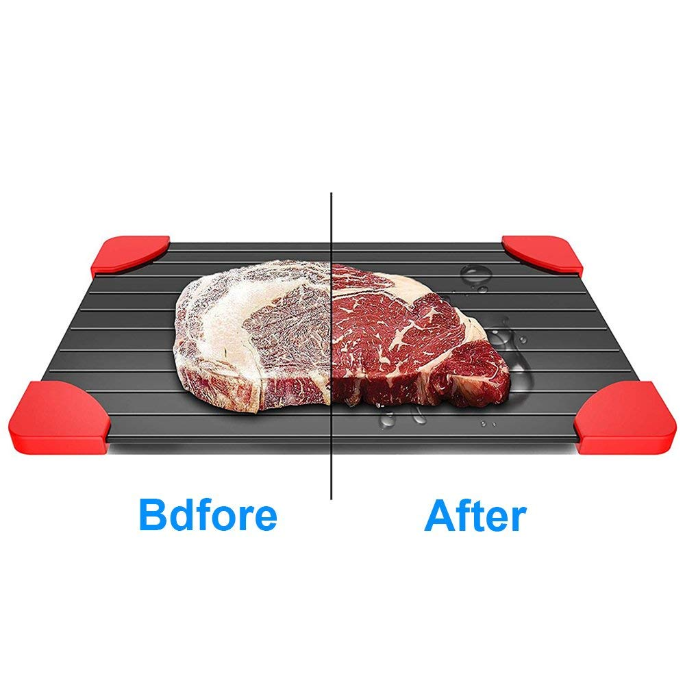 Defrosting Tray with Red Silicone Border Thaws Frozen Food Faster The Quicker and Safest Way to Defrost Meat or Frozen Food Quickly