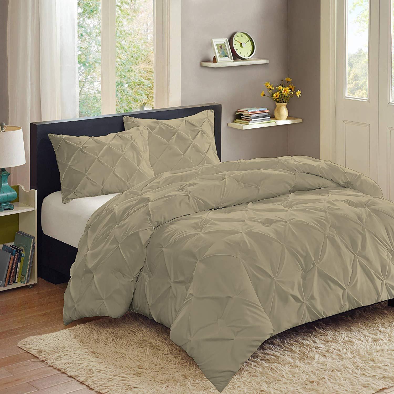 Sweet Home Collection 3 Piece Luxury Pinch Pleat Pintuck Fashion Duvet Set,Sage,Queen