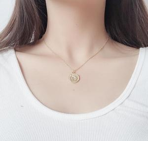 Fashion Gold Color Round Portrait Coin Pendant Necklace for Women Female Charm Lucky Jewelry Gift