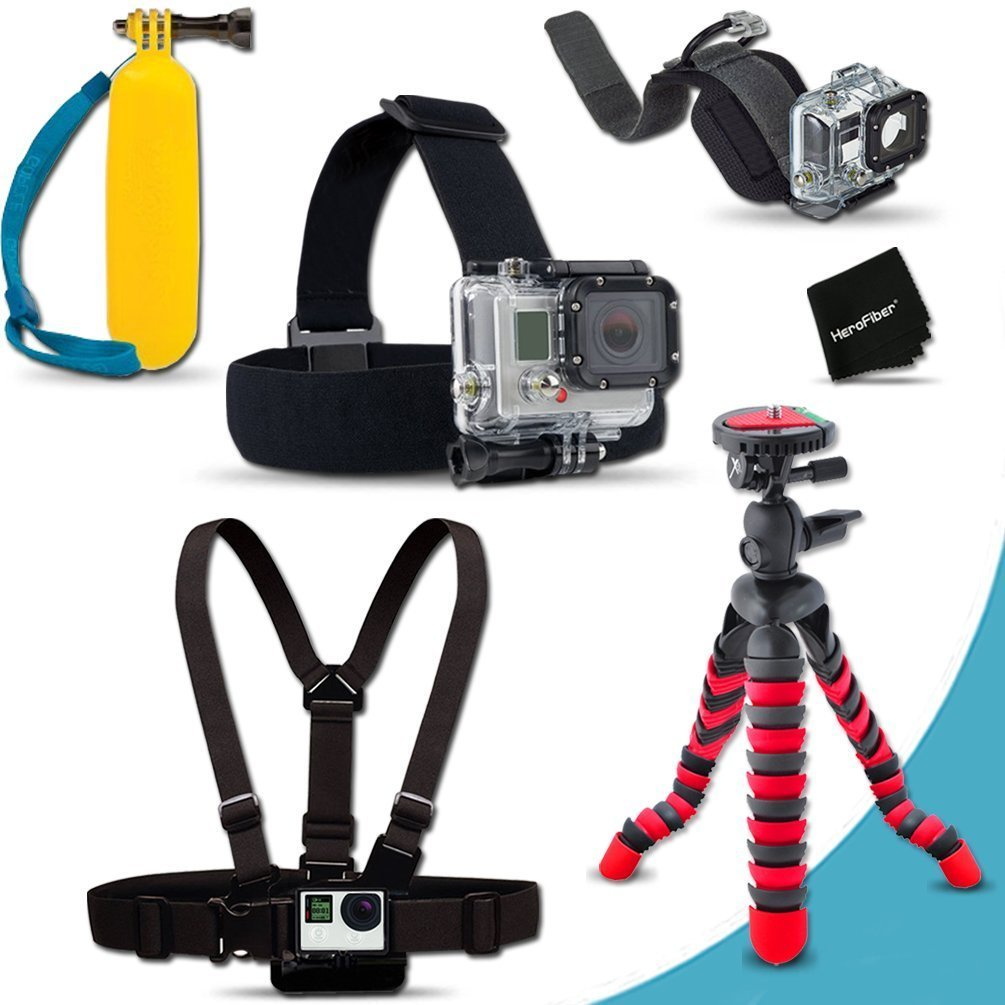 """Xtech® Ultimate MOUNTS Accessory Kit for GoPro HERO4 Hero 4, GoPro Hero3+, GoPro Hero3, GoPro Hero2, GoPro HD Motorsports HERO, GoPro Surf Hero, GoPro Hero Naked, GoPro Hero 960, GoPro Hero HD 1080p, GoPro Hero2 Outdoor Edition Digital Cameras Includes Head Strap Mount + Chest Strap Mount + 12"""""""