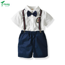 1-7 Years Toddler Kids Baby Boys Formal Outfits Shirt Tops +Short Pants Overalls Summer Kids Formal Shorts Set