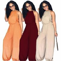 2018 Women Solid Wide Leg Jumpsuit Sexy Halter Sleeveless Spaghetti Strap Long Pants Rompers