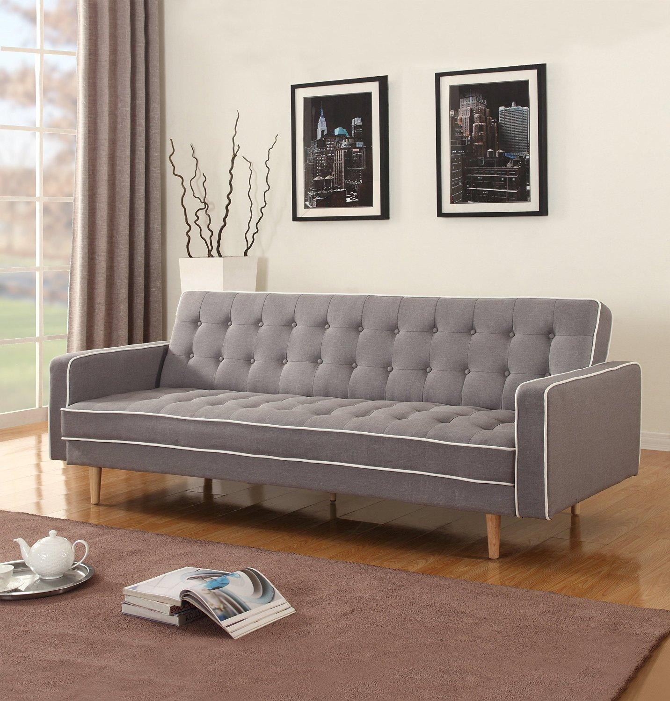 Two Tone Modern Mid Century Grey Vintage Linen Sleeper Sofa Futon