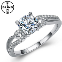 >>>Engagement platinum plated vintage wedding S925 rings for women white cz diamonds jewelry accessories/
