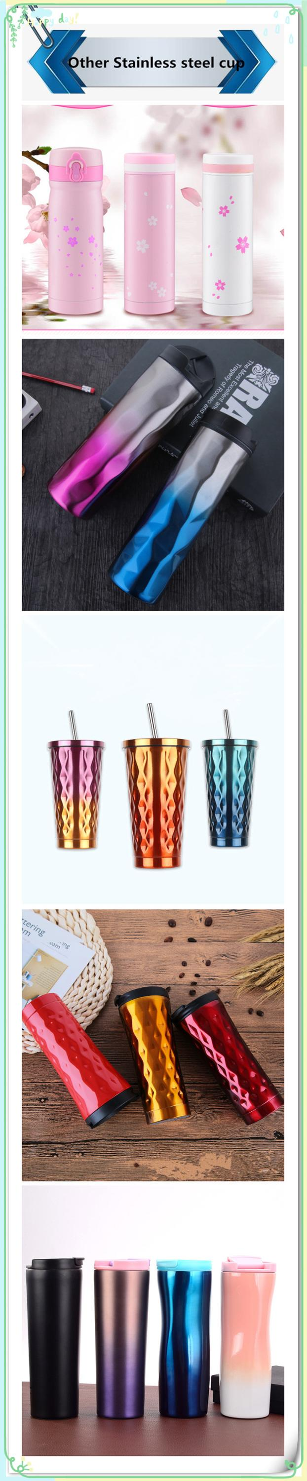 Wholesale Coffee custom printed flask double wall Travel Mug 500ml Friendly Bottle Cups Straw drinking cup