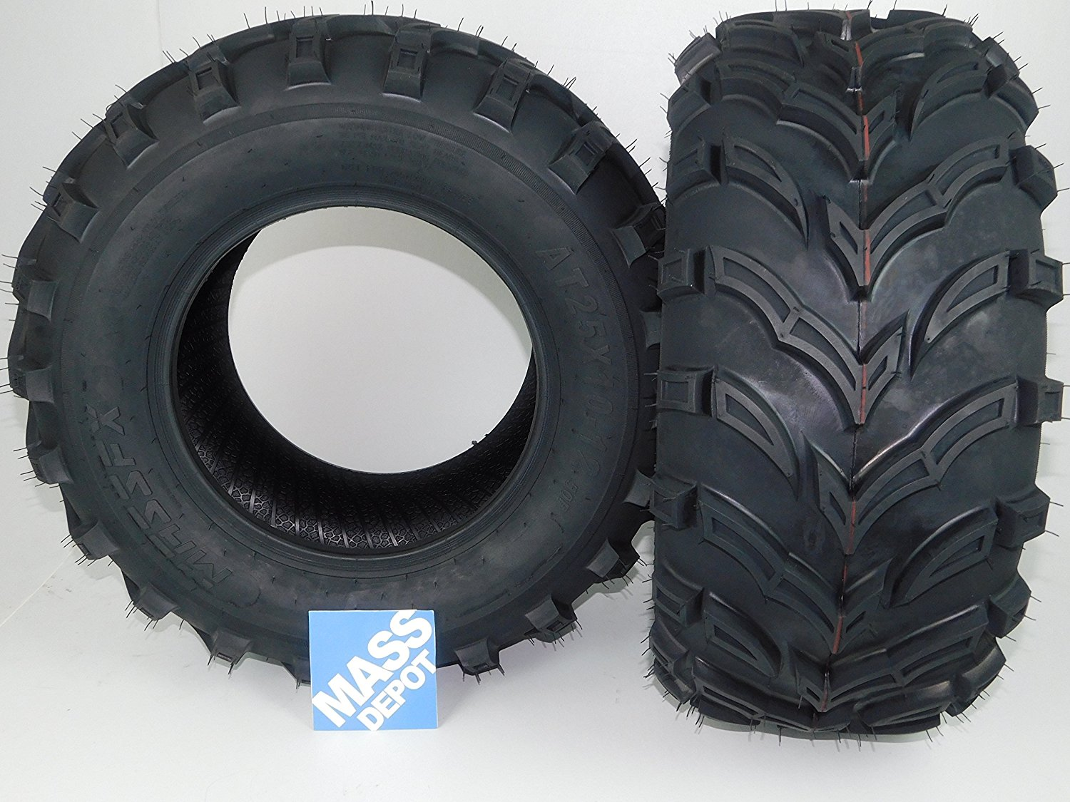 New MASSFX MS ATV/UTV Tires 25 x10-12 Rear, Set of 2 25x10x12 25x10/12