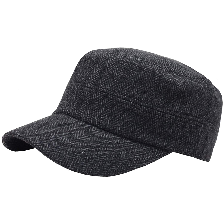 4a62483170f71 Get Quotations · RaOn A66 Urban Street Herringbone Pattern Basic Warm Army  Cap Cadet Military Hat