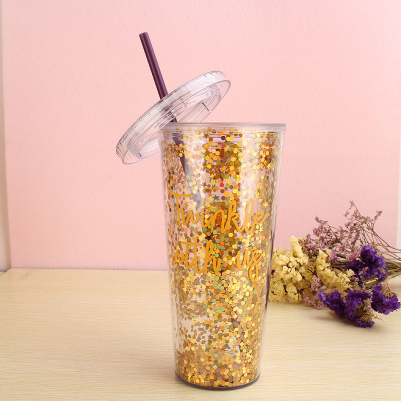 Wholesale Reusable 16oz Double Walled Glitter Tumbler With
