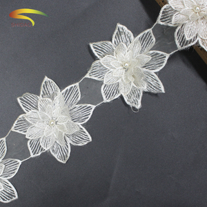 3D elastic Organza handmade beaded flower water soluble trimming lace fabric for bridal dress