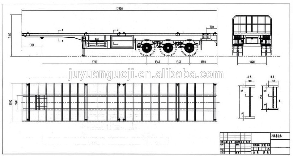 2017 New Ladder 3 Axle Flatbed Container 30 60tons 20ft 40ft Truck And Trailer Dimensions