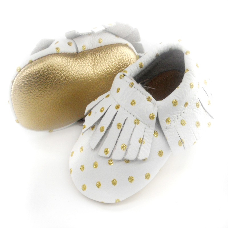 New Genuine Leather Baby moccasins First Walkers Soft gold sole Baby shoes Toddler Infant Fringe dot