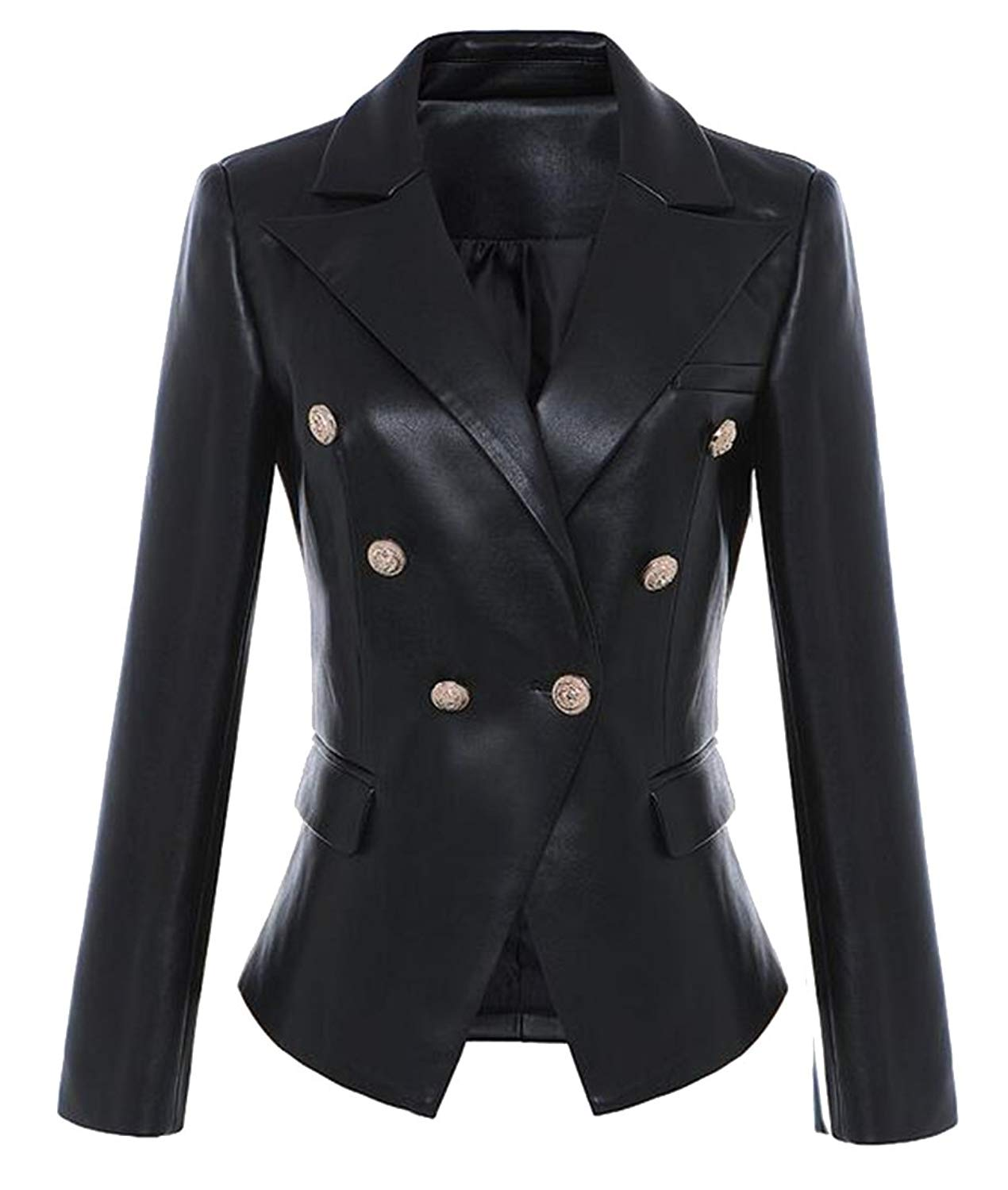 4ab98f8be4f Get Quotations · Fensajomon Womens Long Sleeve Faux Leather One Button Slim  Casual Business Blazer Jacket Coat