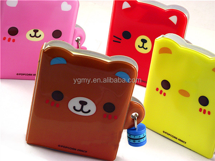 Korean Cute Mini Diary Book with Lock Notebook Journal Diary Combination Lock wholesale 10*8cm