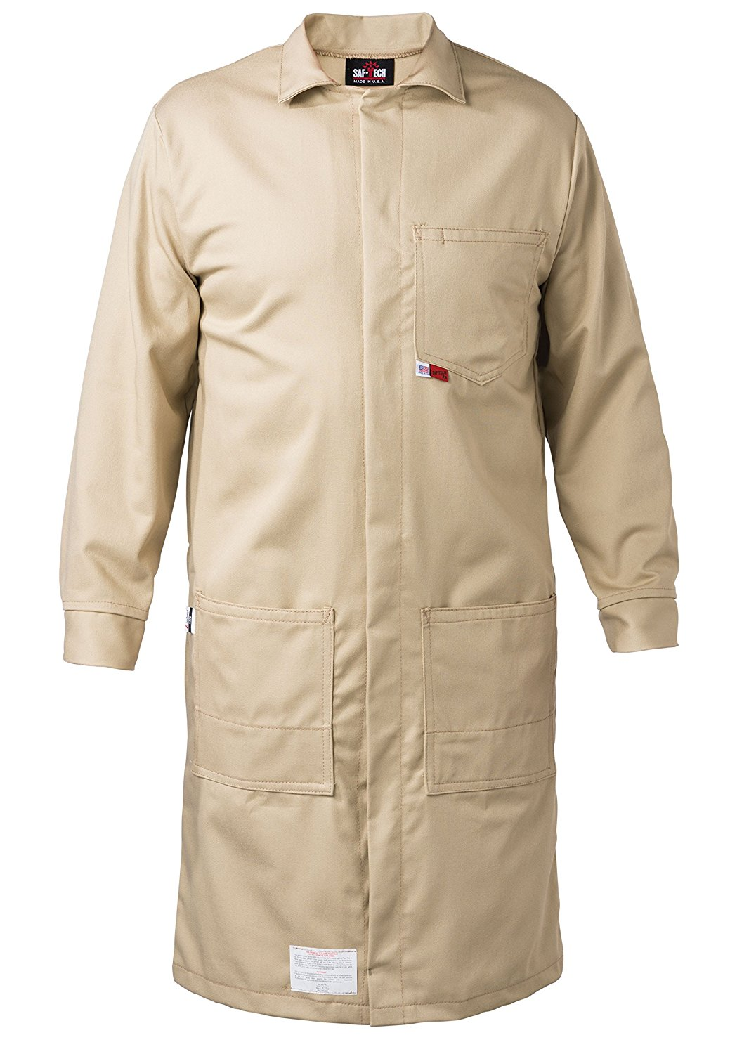 KHAKI - SMALL - FR LAB COAT - 6oz. NOMEX III3 Flame Resistant Fabric - Lab or Classroom Ready - HRC 1 - APTV= 5.7 cal/m2 - MADE IN THE U.S.A.