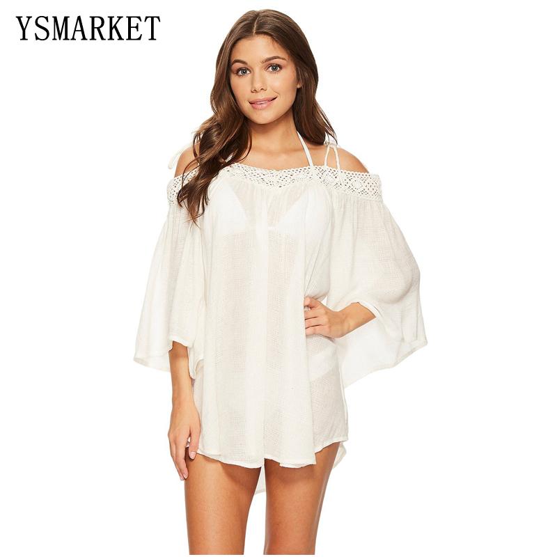 c5ed3cd7d 2018 Diseño de Moda de verano sexy crochet fuera del hombro beachwear  mujeres suelta cubrir hasta
