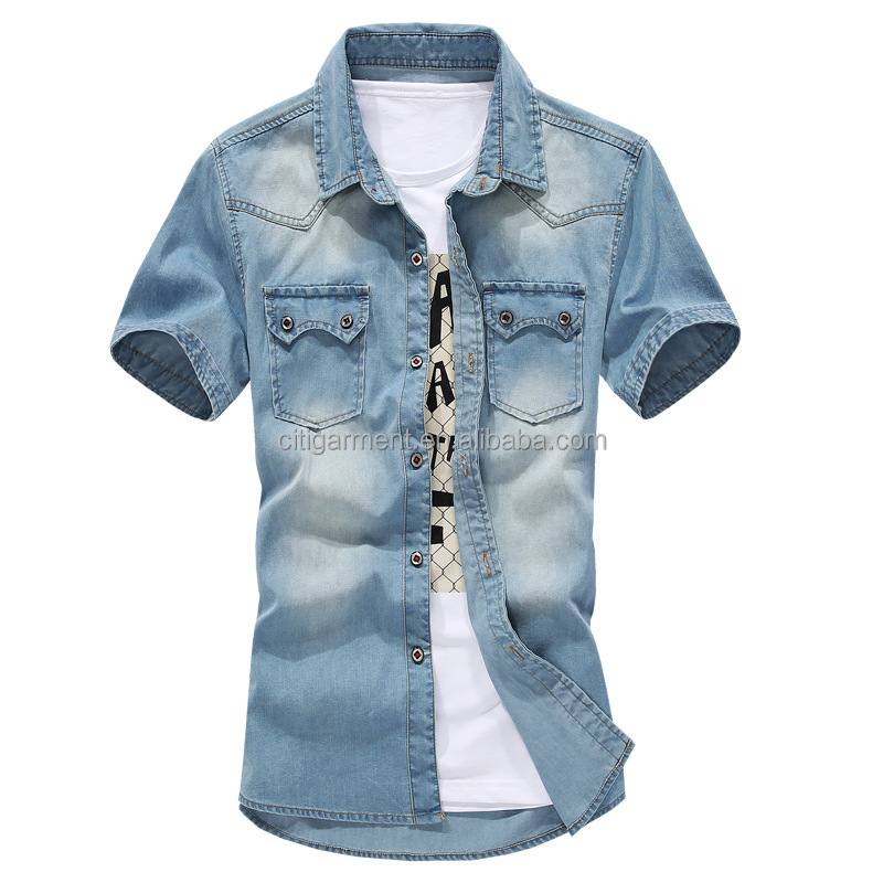 Free Shipping Men's Double Pocket Short Sleeve Denim <strong>Shirt</strong> For Men Washed Denim Casual <strong>Shirt</strong> M-3XL